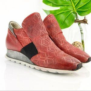 Miz Mooz Canarsie Sneaker Red Leather Wedge SlipOn